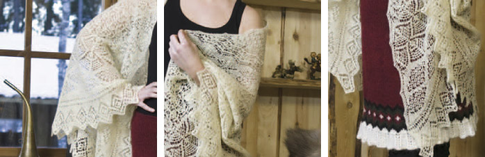 sjal i kniplingsstrik